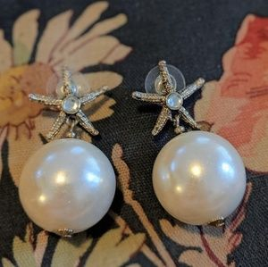 Betsey Johnson Starfish Pearl Earrings